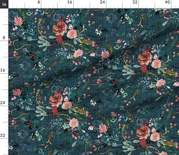 Fab Birds teal tone on tone floral tweet 3 Wishes Hello Spring quilting cotton fabric spring easter flowers calico floral animals blue