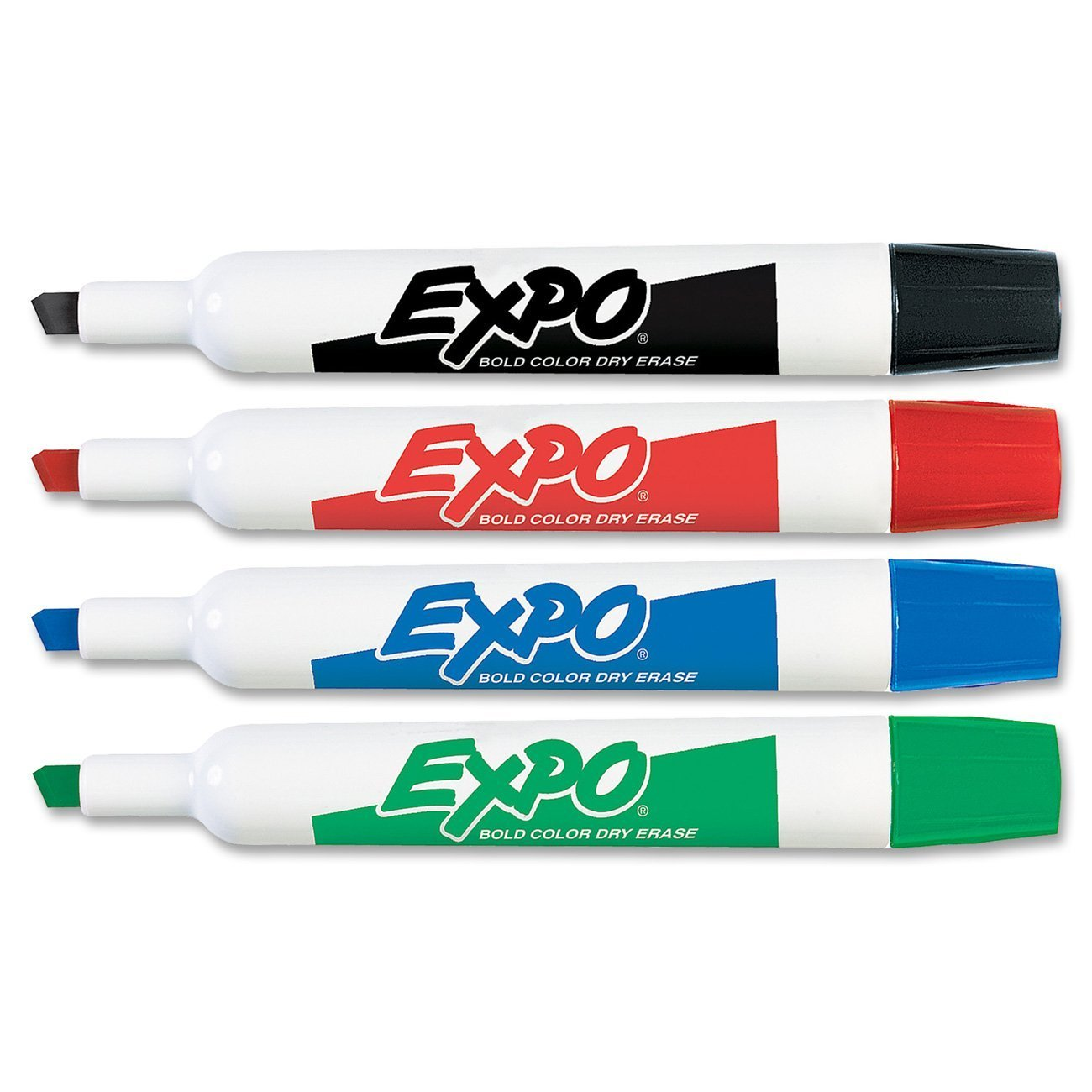 EXPO Original Chisel Tip Dry Erase Markers, Chisel Tip, Assorted Colors, 4-Count, Case of 12