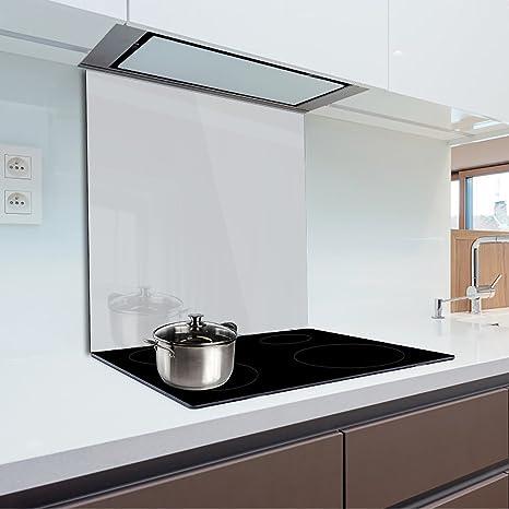 Pannello para-schizzi in vetro temperato resistente al calore per  proteggere la parete dei fornelli in cucina 90x70 cm Light Grey Fmk-56-072