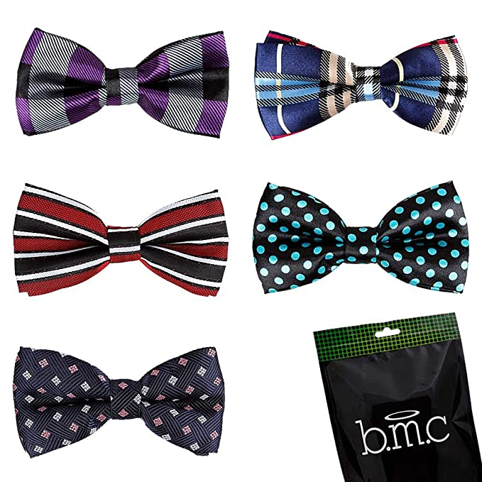 Bundle Monster Stylish Dashing 5pc Boys Tuxedo Novelty Adjustable Neck Bow Tie Lot, Dapper Junior Collection - SET 1
