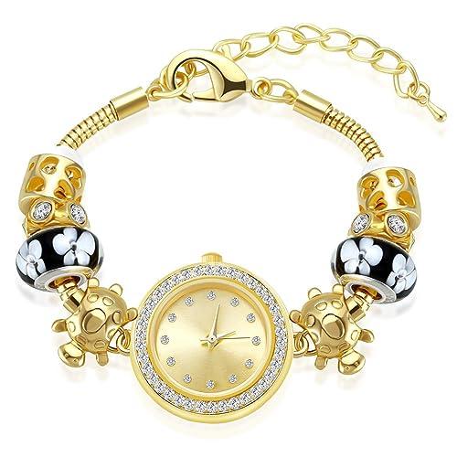Reloj de Mujer MAMBARA Relojes de Mujer Encanto Pulsera Relojes Dorado con Cristal Joyería Mujeres