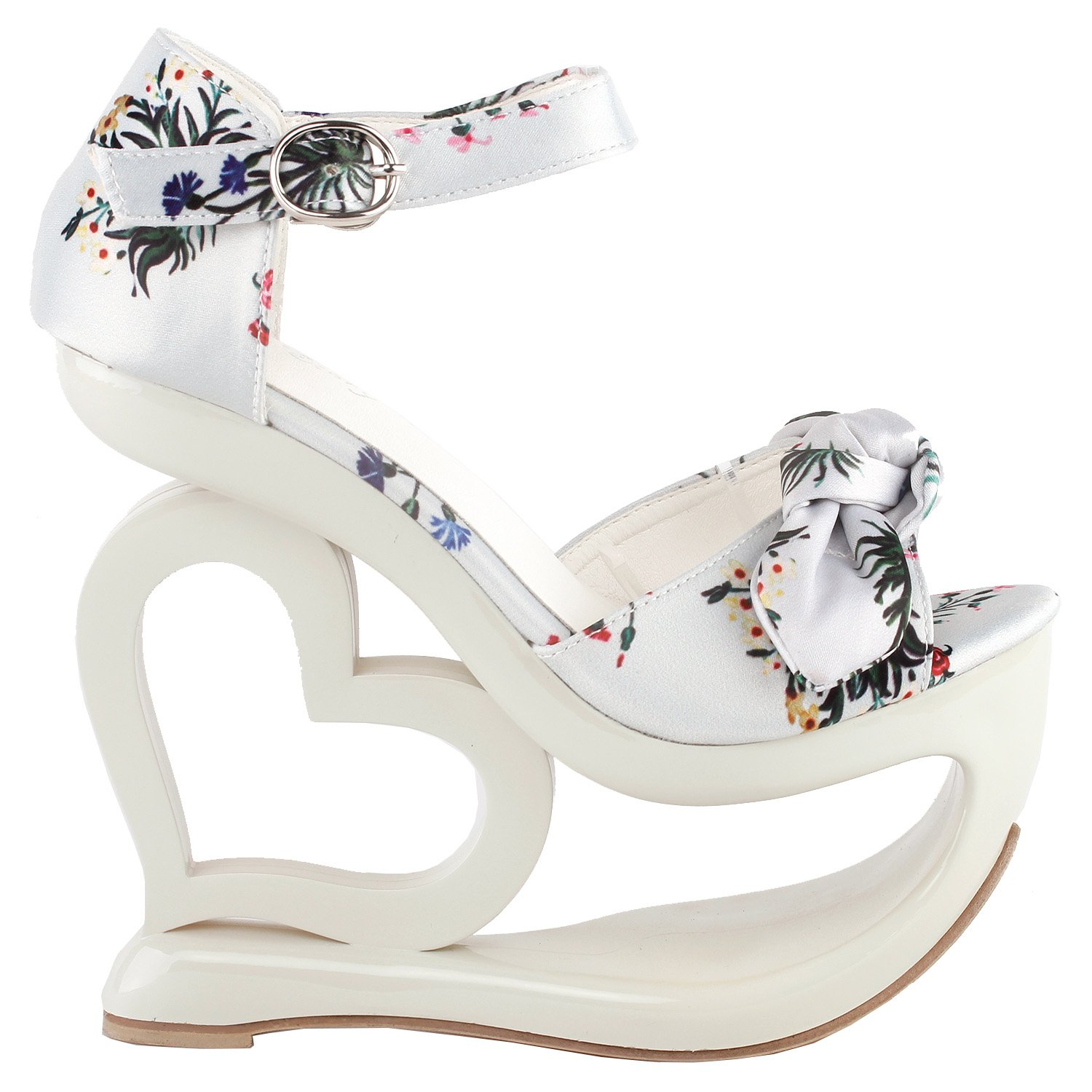 87b2fcfd118d Show Story Elegant Floral Print Bow Ankle Strap Heart Heel Wedge Bridesmaid  Wedding Sandals