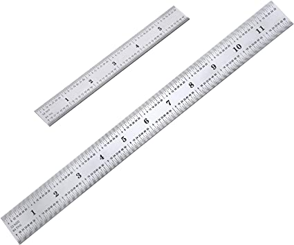 2 Pack Stainless Steel Ruler Machinist Engineer Ruler Metric Ruler With Markings 1 8 1 16 1 32 1 64 Inch For Engineering School Office Architect And Drawing 12 Inch 6 Inch Amazon Com
