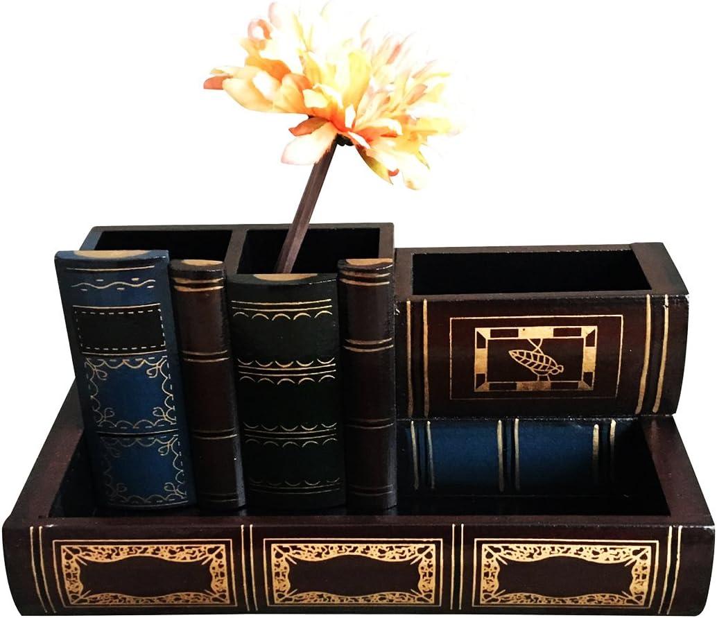 Tosnail Decorative Wooden Pencil Holders Desk Organizer - Library Book Design