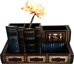 Tosnail Decorative Wooden Pencil Holders Desk Organizer - Library Book Design