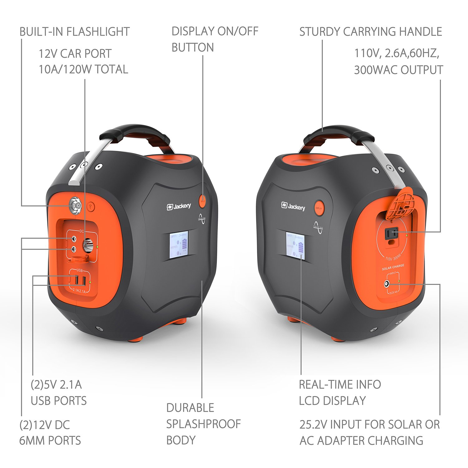 500Wh Portable Generator, Jackery Explorer / Power Pro Rechargeable Lithium Battery Pack Quiet Generator with 110V / 300W AC Outlet, 12V Car, USB Output Clean Off-grid Emergency Power Pack for Camping by Jackery (Image #4)