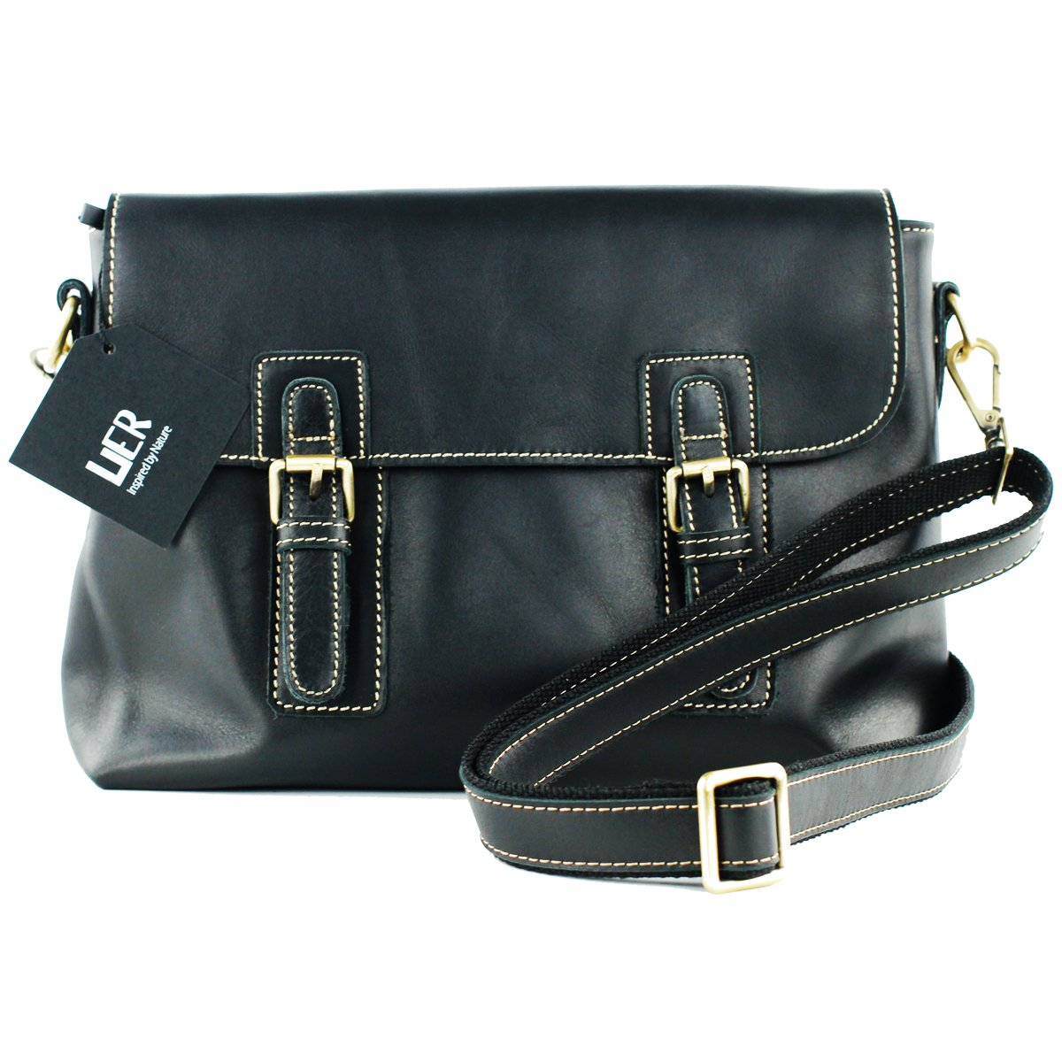UER Unisex Soft Genuine Leather Classic Messenger Shoulder Bag with Brass Hardware