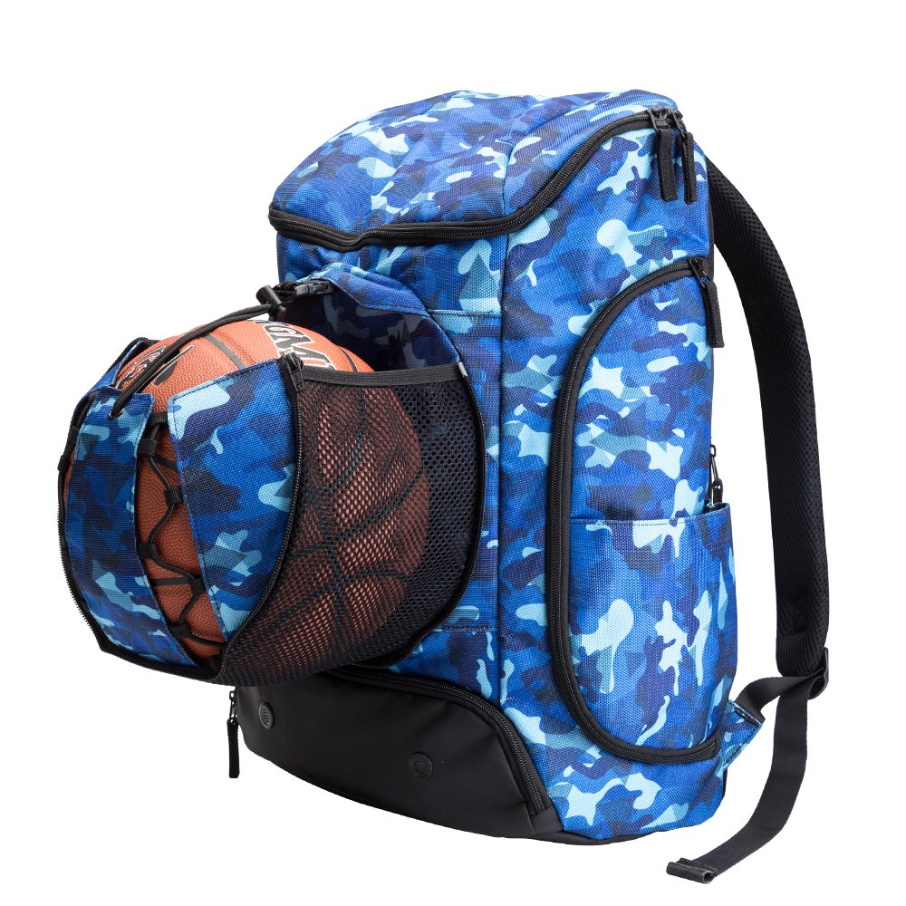 Kuangmiバスケットボールバックパックボールポケットすべてスポーツジム旅行バッグforバスケットボール、サッカー、バレーボール、サッカー、ラグビー B0786BL729 Camouflage blue (30L)