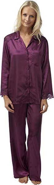 Ladies Charmeuse Satin 2 Piece Pyjamas Plum Sizes 10-28