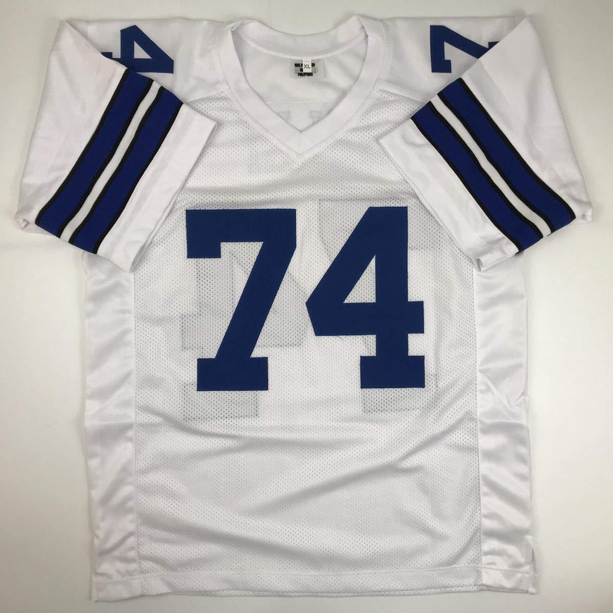 Autographed//Signed Bob Lilly HOF 80 Dallas Retro Blue Football Jersey JSA COA