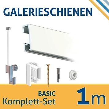 Decken Bilderschienen Set 2 m Zubehör Galerieschiene für Deckenmontage inkl