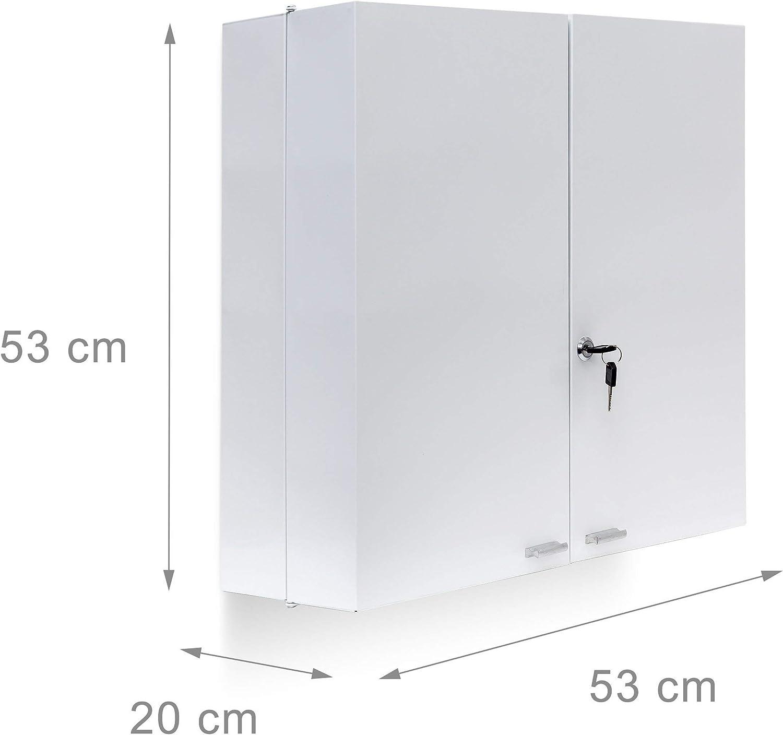Bianco 11 ripiani Metallo 53 X 53 X 20 cm Relaxdays Armadio Porta Farmaci da Muro