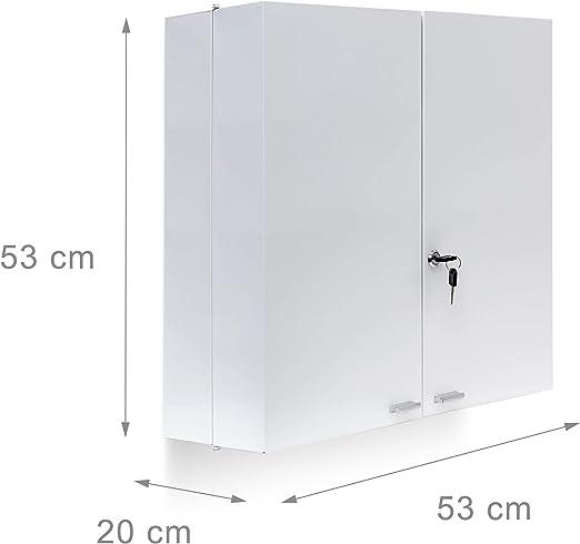 Relaxdays Botiquín de acero inoxidable XXL H x W x D: 53 x 53 x 20 cm con 11 estantes para un montón de espacio para guardar objetos y puerta con cerradura