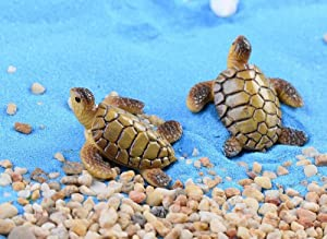 SunRise 6pcs Resin Cute Beach Sea Turtle Miniature Figurine Status Micro Landscape Decorations Fairy Gardens Dollhouse DIY Ornaments Decor