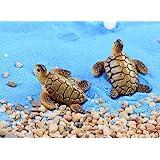 Sunrise 6pcs Resin Cute Beach Sea Turtle Miniature Figurine Status Micro Landscape Decorations Fairy Gardens Dollhouse…