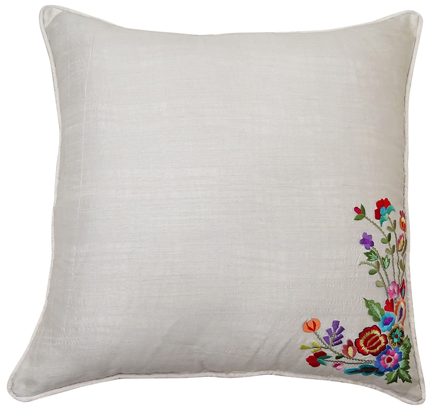 Poly Dupion Square Cushion Cover Throw Floral Embroidered Gray Pillow Case