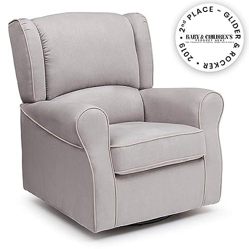 Delta Children Morgan Upholstered Glider Swivel Rocker Chair, Dove Grey