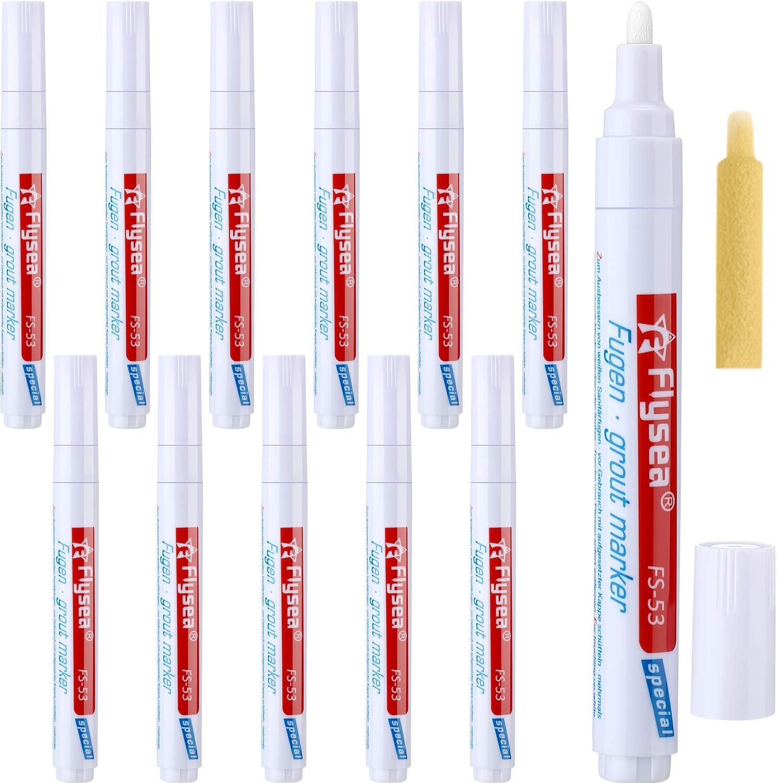 12 Piezas de Bolígrafo de Lechada de Rejuvenecer Pluma de Reparación para Azulejos Pared Suelo (Blanco): Amazon.es: Bricolaje y herramientas