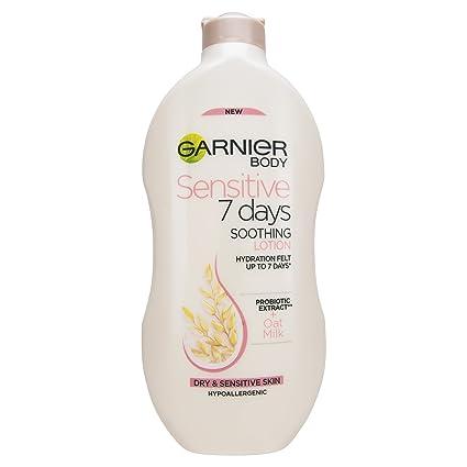 Garnier Garnier Sensitive - Loción corporal de leche de avena para 7 días, piel sensible