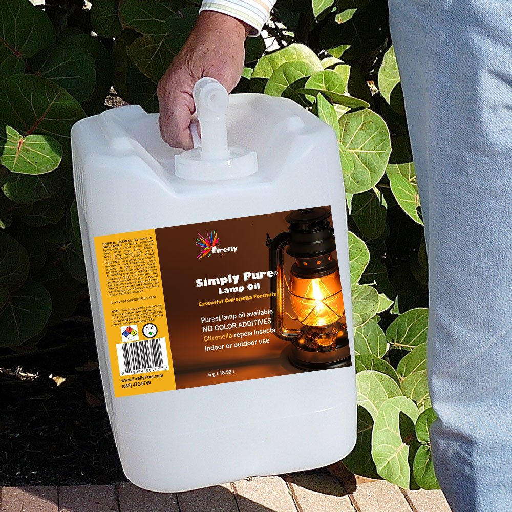 Amazon.com: Bulk Citronella Lamp Oil By Firefly   5 Gallons   Odorless Base  U0026 Smokeless  Ultra Clean Burning Paraffin Oil With Citronella Oil: Home U0026  ...