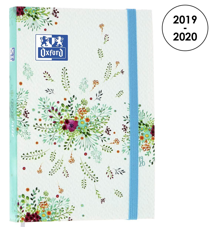 Oxford Flowers agenda escolar (años 2017 – 2018 1 día por página 352 páginas 12 x 18 cm) azul