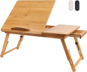 Hiveseen Bamboo Laptop Bed Desk Table Tray with Foldable Pull Down Legs and Storage Drawer, Multi-Position Adjustable Tilt Surface for Computer iPad Book Study Writing Reading and Eating