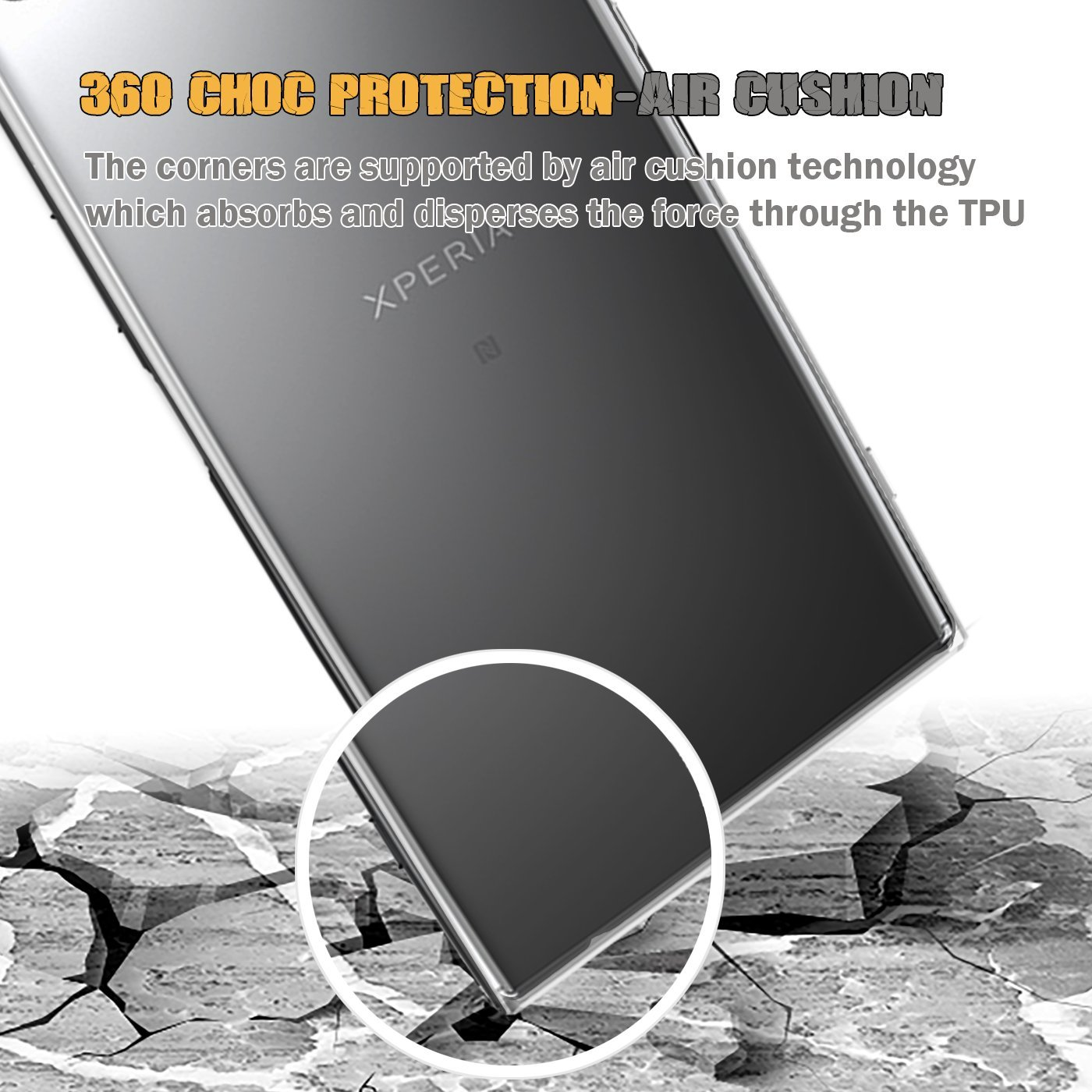 Etui Ultra Mince Transparent Invisible pour Sony Xperia XZ1 Buyus Coque Gel Sony Xperia XZ1 Coque 360 Degres Protection Integral Anti Choc Coque Xperia XZ1