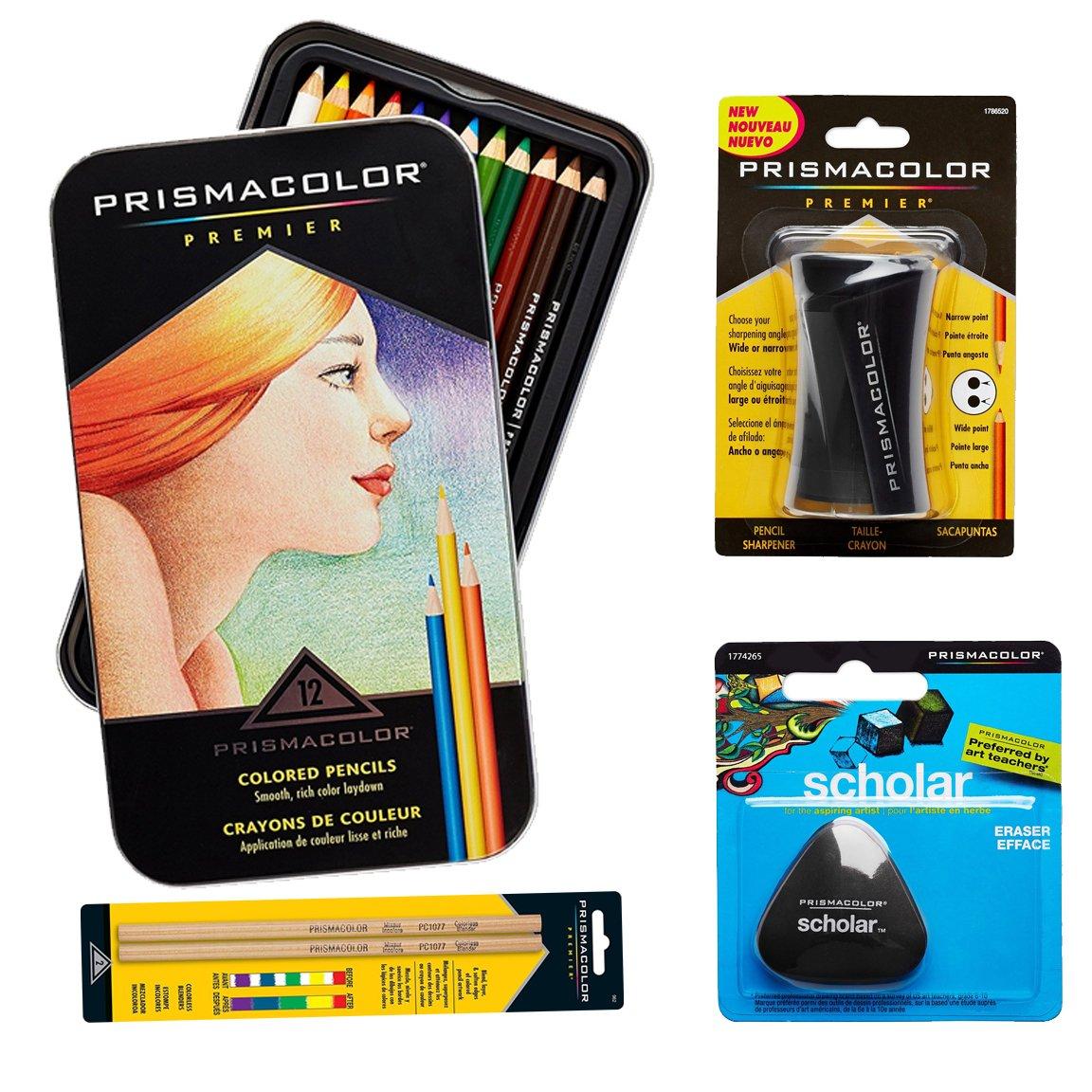 Prismacolor 12-Count Colored Pencils, Triangular Scholar Pencil Eraser, Premier Pencil Sharpener, and Colorless Blender Pencils