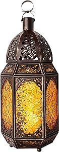 Lewondr Metal Glass Candle Lantern, Moroccan Style Portable Candle Holder Pavilion Shape Bowl Bottom Decorative Hanging Lamp Wind Lantern Décor for Home Patio Balcony Garden - Copper + Yellow