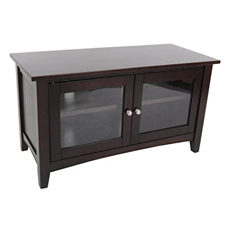 Alaterre Shaker Cottage 36-inch TV Stand with 2 Glass Doors, Espresso