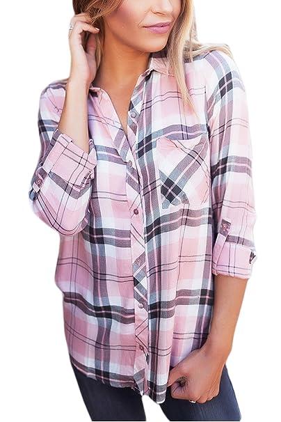 Jumojufol La Mujer Es Elegante Plaid Camisa A Cuadros Collar Single Breasted Top Blusa: Amazon.es: Ropa y accesorios