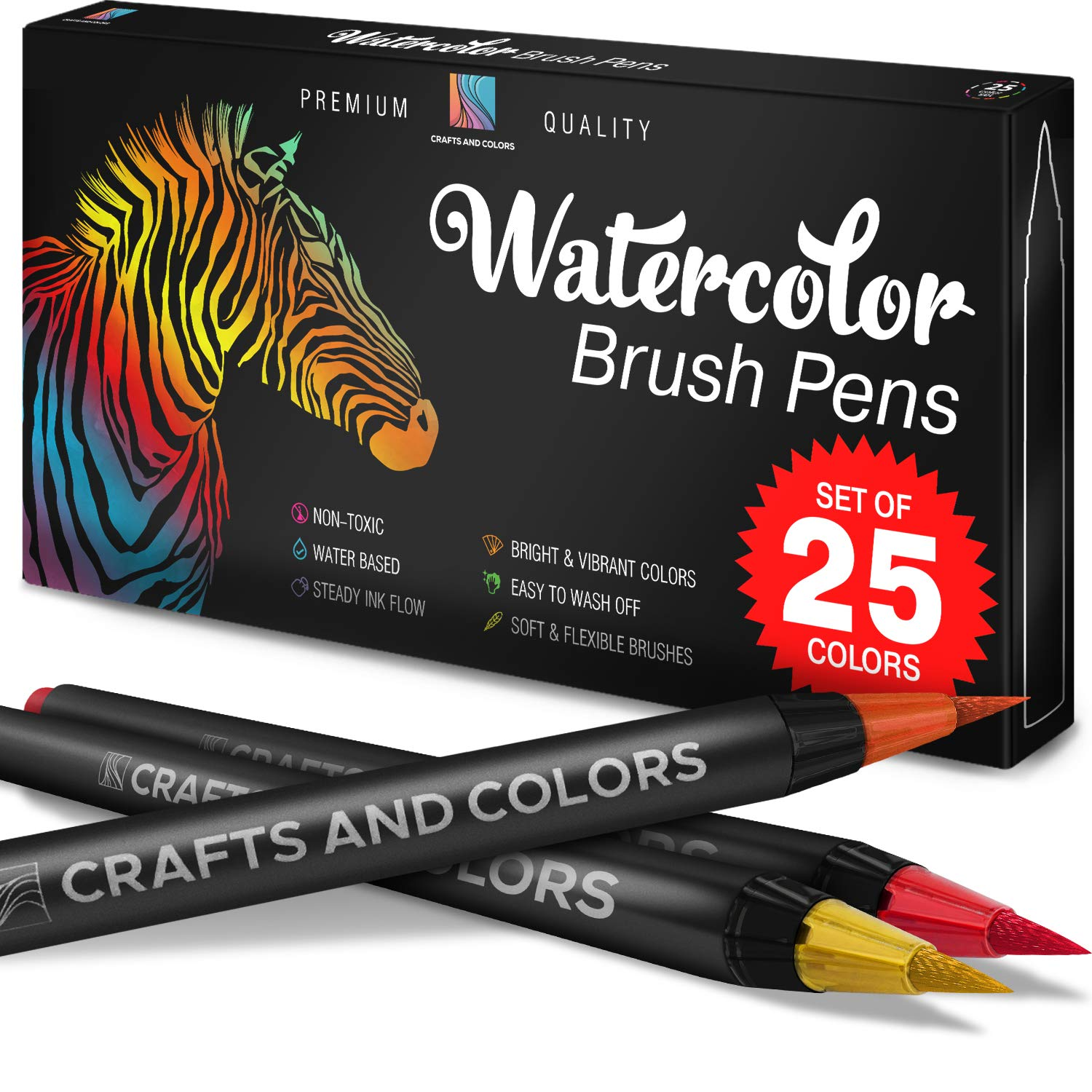 Artist Watercolor Brush Pens Set of 26 - Vibrant Markers with Bonus 1 Water Brush Pen - 25 Colors Flexible Nylon Tips - Paper Pad & Carry Case - Non-Toxic Safe & Fun Watercolors in Gift Ready Package by CRAFTS & COLORS