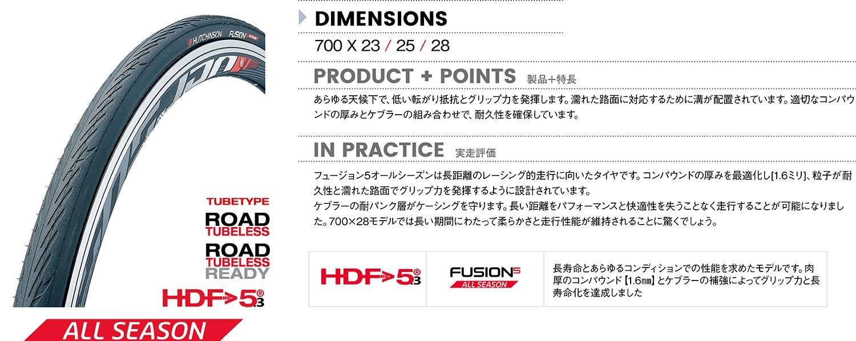 Hutchinson Fusion 5 All Season Pneu de v/élo Mixte Adulte 700 x 23C Noir