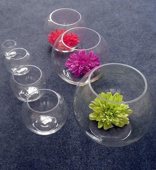 Jarrón de cristal transparente para pecera de Homestreet para mesa de boda, en muchos tamaños diferentes, 15 cm: Amazon.es: Hogar