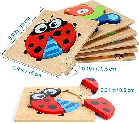 E-MANIS Juguetes Bebes 1 Año Puzzles de Madera 2 3 Años Montessori Educativos Rompecabezas Niñas y Niños Infantiles Juegos Regalo Preescolar de Aprendizaje Temprano 6 Paquete Animales y Vehículos