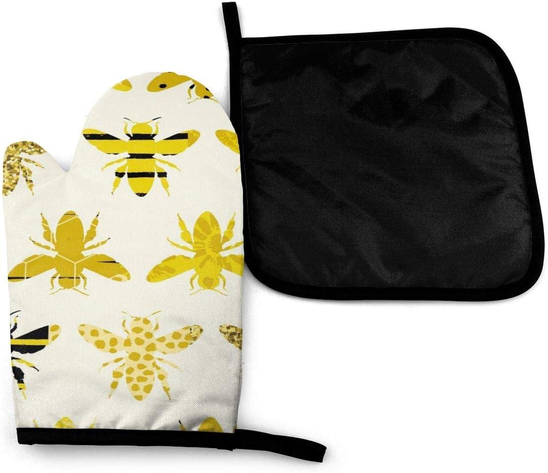 Pamela Hill Conjunto de Soporte para Guantes y ollas de Abeja Bee Cute Retro Mini Art Novedad Accesorios de Cocina para el hogar Conjunto de Soporte de Guantes y ollas para Horno