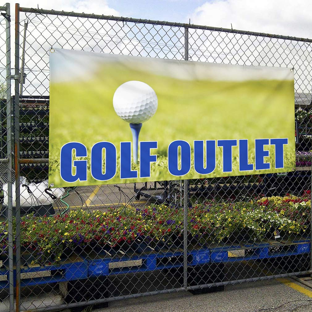 Amazon.com : Vinyl Banner Sign Golf Outlet #1 Business Golf Outlet Outdoor Marketing Advertising Green - 60inx120in, 8 Grommets, One Banner : Office ...