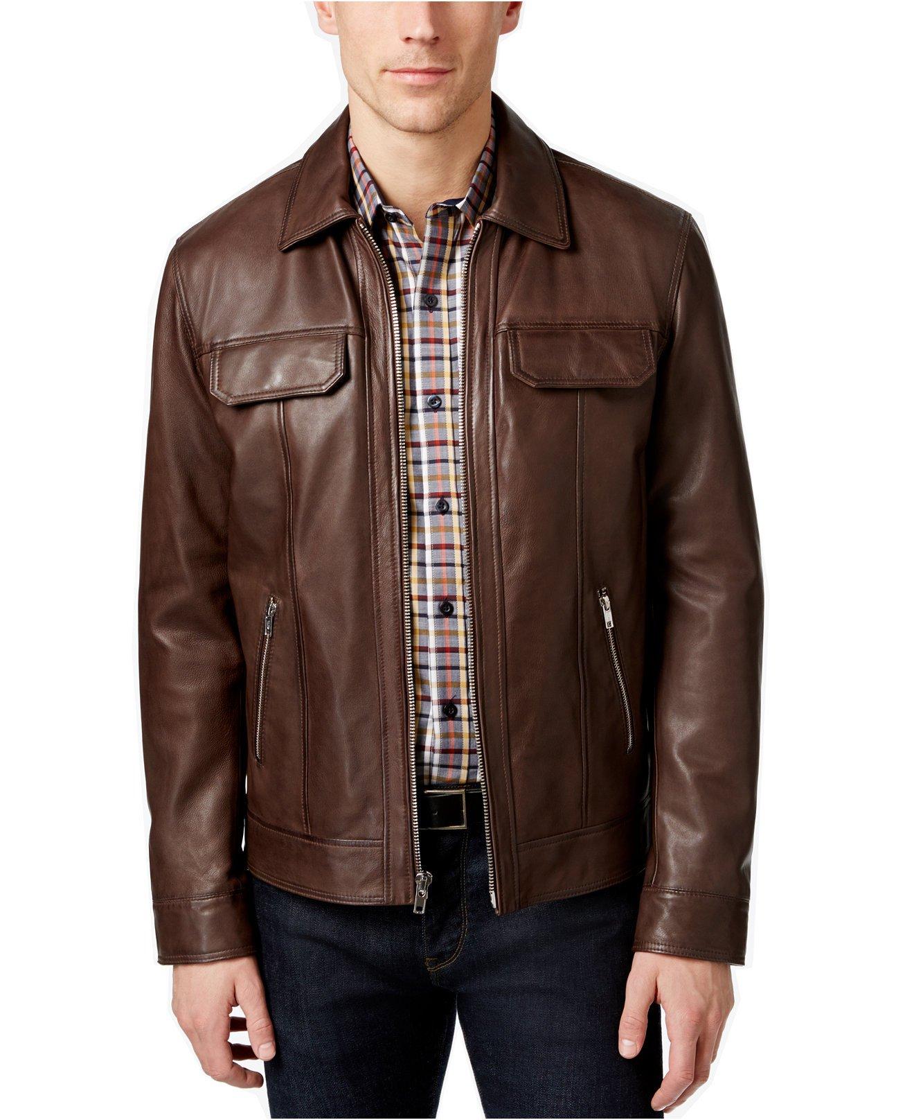 Tasso Elba Men's Leather Jacket (XL, Dark Brown)