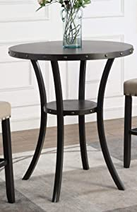 "Roundhill Furniture Biony 36"" Round Bar Table Nail Head Trim"