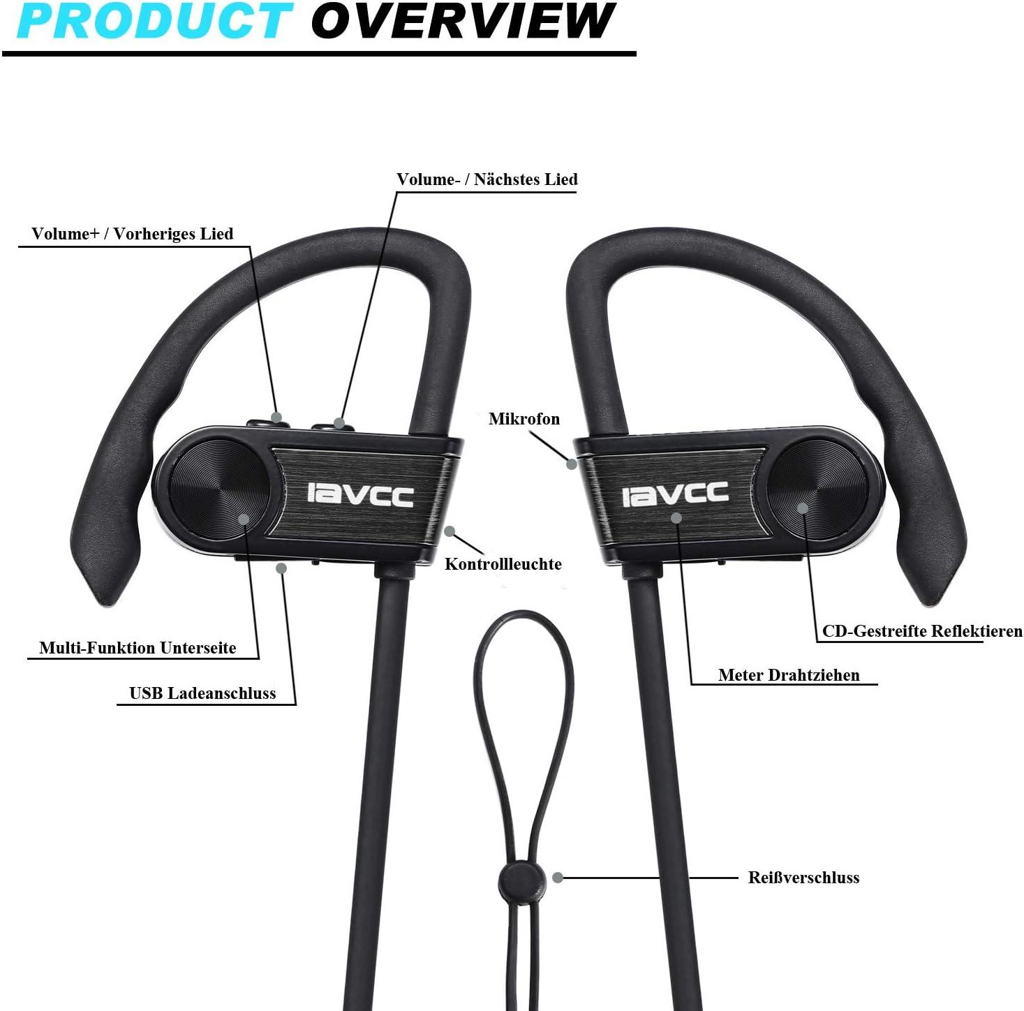 Auriculares Bluetooth Correr, IAVCC Cascos Running Deportivos ...