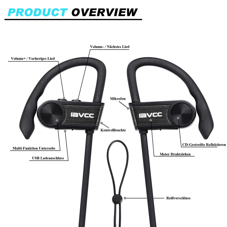Auriculares Bluetooth Correr, IAVCC Cascos Running Deportivos Inalámbricos a Prueba de Sudor(Bluetooth 4.1, CVC 6.0, Resistente al Agua IPx6, ...