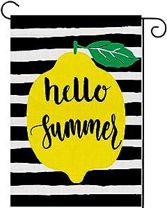 UPINLOOK Lemon Hello Summer Garden Flag Vertical Double Sided, Seasonal Burlap Watercolor Stripes Yard Flag Farmhouse Outdoor Decoration 12.5 x 18 Inch