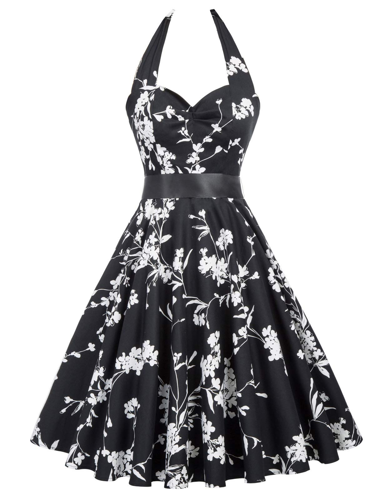 ACEVOG Womens Vintage 1950s Retro Rockabilly Prom Pleated A-Line Cocktail Party Swing Dress