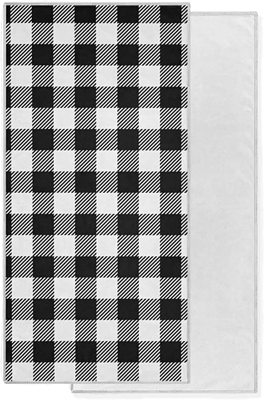Amazon Com Kaariok Black And White Buffalo Check Plaid Quick Dry Soft Hand Towels For Bath Bathroom Hotel Gym And Spa 15 X 30 Kitchen Dining