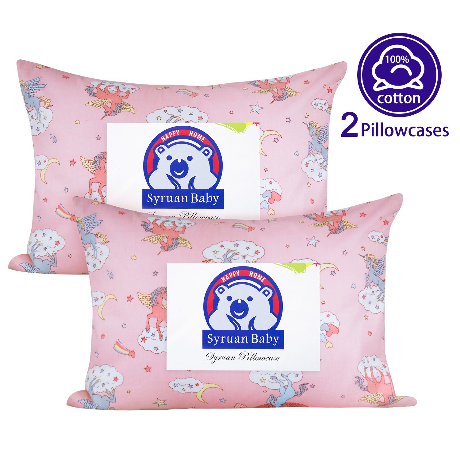 Kids Toddler Pillowcases Syruan 2 Pack 100% Cotton Pillow Cover Cases 13 x 18 for Kids Bedding Green/Purple/Pink/White. … (Pink)