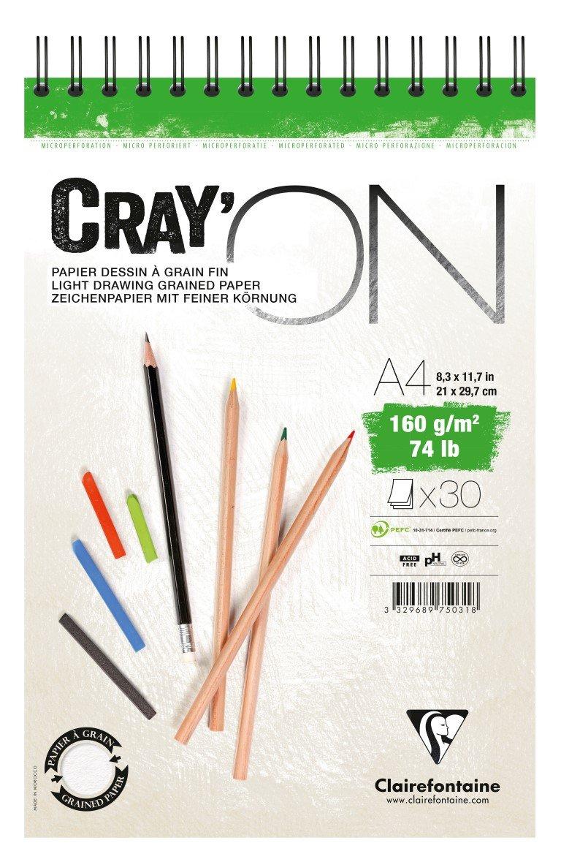 Clairefontaine 975028C Zeichenblock Cray/'On 160 g, ideal f/ür Trockentechnik, 30 Blatt, DIN A3, 29,7 x 42cm, kopfseitig geleimt extra wei/ß