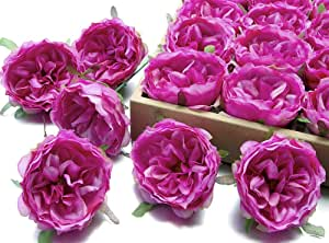 MaxFlowery Silk Bourbon Garden Roses with Wire Stems 24/Box, Faux Flower Blooms Heads for Floral Arrangement Wedding Home Indoor Outdoor Decoration Royal Purple