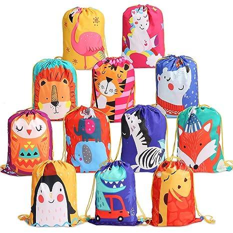 BeebeeRun 12 Mochila con Cordón para Niños Niños Niñas,Bolsas de Cuerdas para Infantils,Party Bolsas Fiesta de Cumpleaños Navidad Regalos