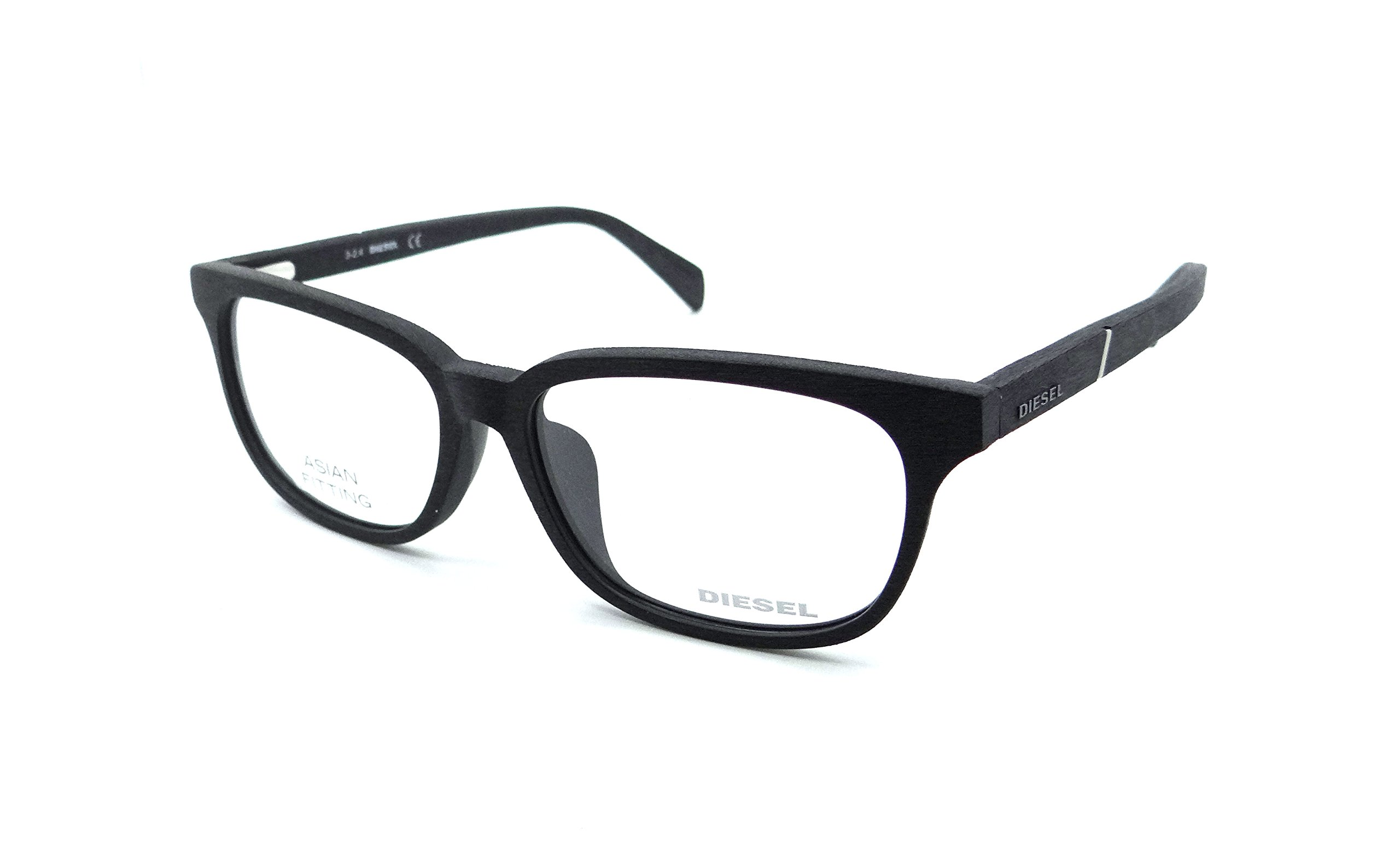 Diesel Rx Eyeglasses Frames DL5129-F 005 57-15-150 Black Wood Grain Asian Fit