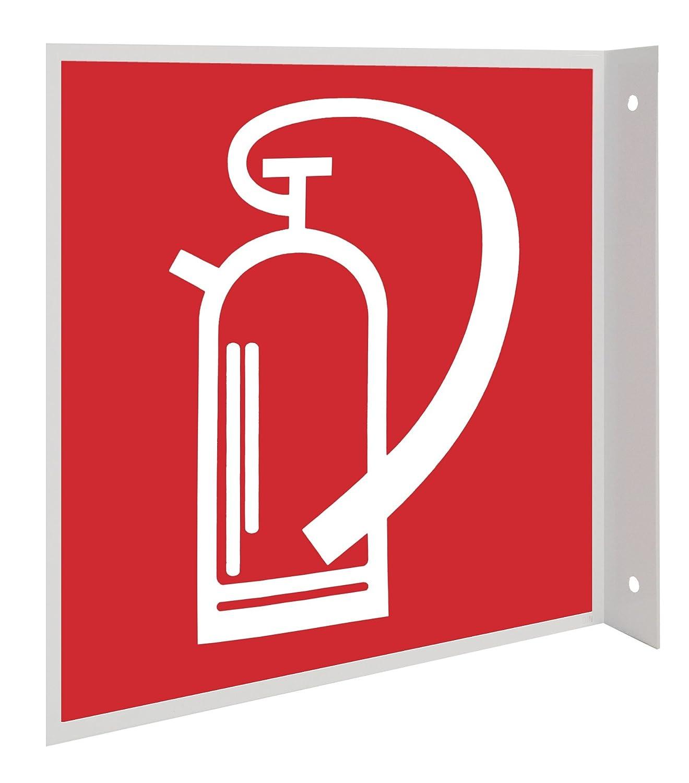 Feuerlö scher Symbol Fahnenschild Hinweisschild Brandschutzzeichen DIN Kunststoffplatte 200x200mm Andris